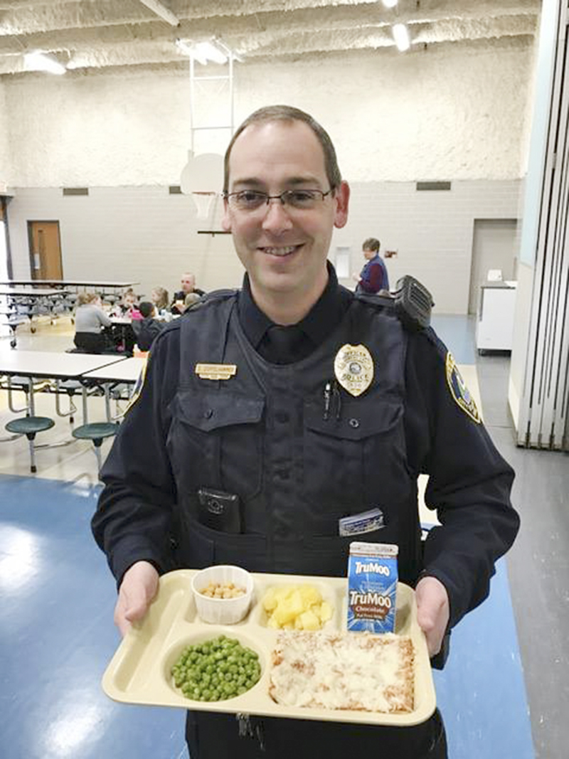 """On Monday, the Albert Lea Police Department began its newest program aimed toward community youth. """"Lunch with a cop"""" has a simple goal — create new relationships and improve on existing relationships with local youth. Officers will attend lunches (pre-K through sixth grade) on a rotating basis at all Albert Lea public elementary schools through the end of the school year. - Provided"""
