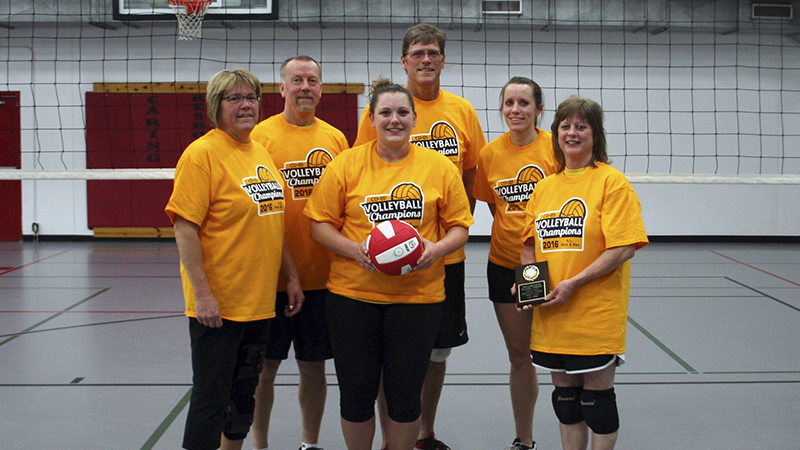 From left, front row are Deb Steinhauer, Julia Hanson and Sharon O'Byrne. From left, back row are Keith Sorenson, Ken Jackson and Danielle Boss. The team Sand Wasps won the Albert Lea Parks and Recreation Coed B League Champions. -Provided